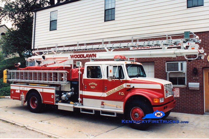 RETIRED<br /> Woodlawn  Engine 1501<br /> 1991 International 4900/Boardman 1250/500/55' Readi-Tower<br /> Greg Stapleton photo