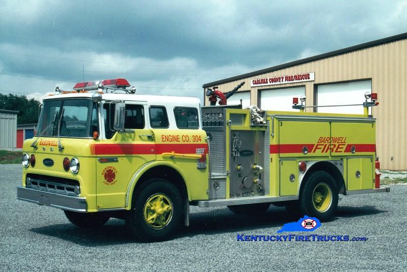 <center> RETIRED <br> Bardwell  Engine 304 <br> x-Englewood, NJ  <br> 1985 Ford C-8000/E-One 1000/500 <br> Greg Stapleton photo </center>