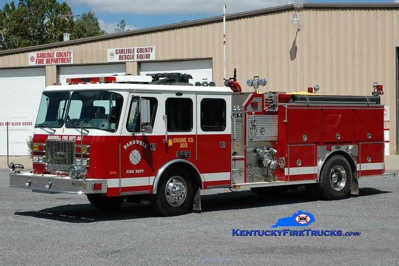 <center> Bardwell  Engine 303 <br> x-Natchitoches, LA <br> 1994 E-One Sentry  1500/1000 <br> Greg Stapleton photo </center>