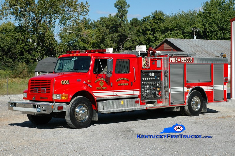 <center> Cunningham  Engine 601  <br> x-Owensboro, KY  <br> 1999 International 4900/Smeal 1250/1000 <br> Greg Stapleton photo </center>