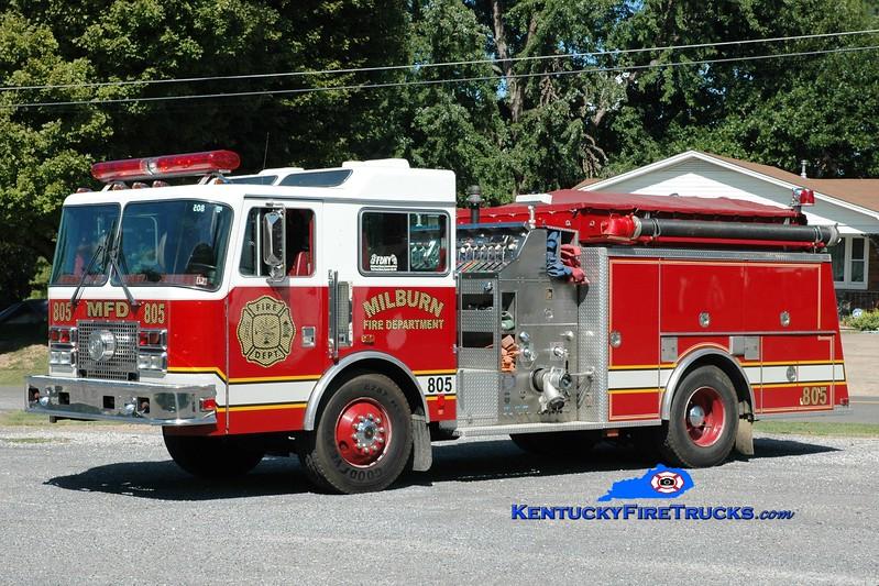 <center> Milburn  Engine 805  <br> x-Manchester, PA <br> 1992 KME Renegade 1250/1000 <br> Greg Stapleton photo </center>