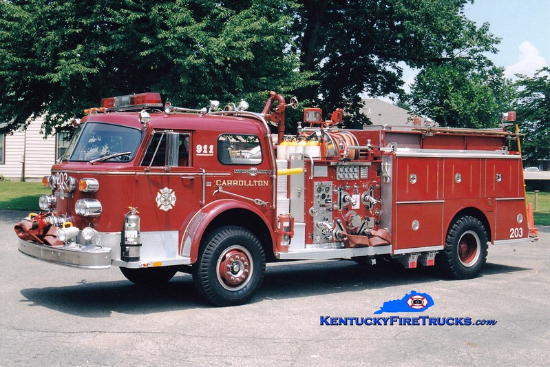 <center> Carrollton  Engine 203  <br> x-Engine 4 <br> 1974 American LaFrance 1000 Series 1500/1000 <br> Greg Stapleton photo </center>