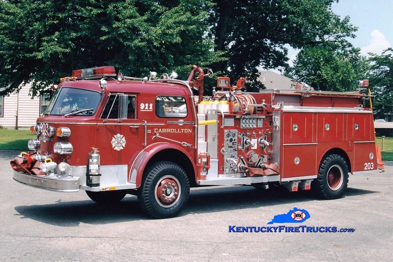 <center> Carrollton  Engine 203  <br> 1974 American LaFrance 1000 Series 1500/1000 <br> Greg Stapleton photo </center>