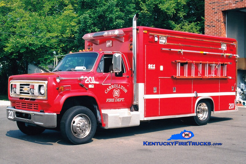 <center> Carrollton  Squad 201  <br> 1988 Chevy C70/Sentinel  <br> Greg Stapleton photo </center>