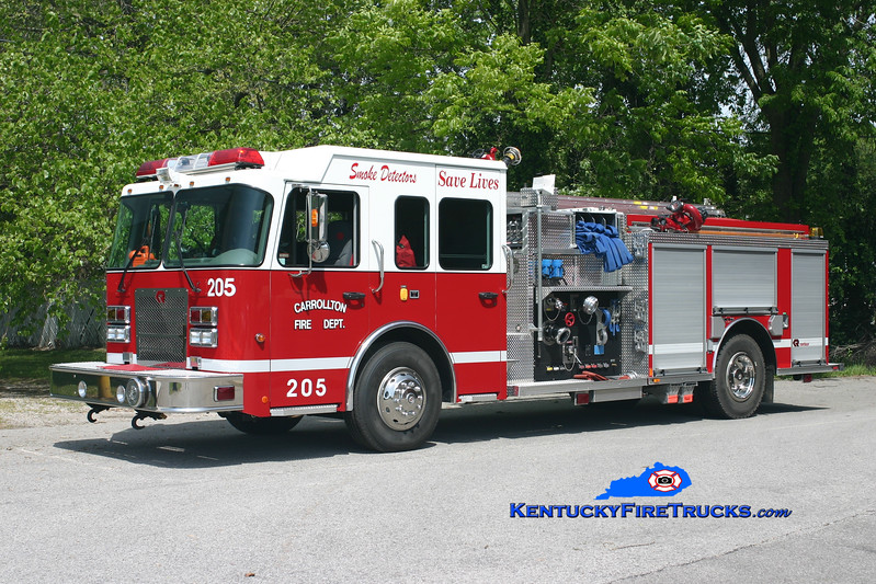 <center> Carrollton  Engine 205  <br> 2007 Spartan Advantage/Rosenbauer-Central 1500/750 <br> Kent Parrish photo </center>