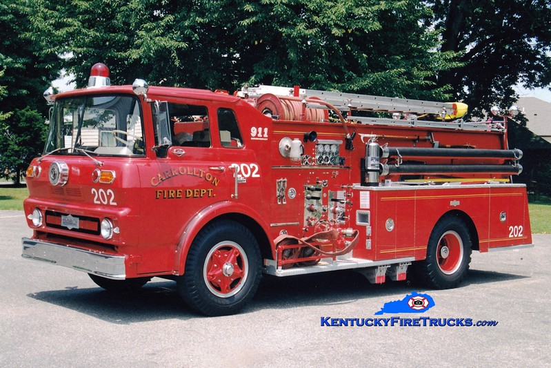 <center> RETIRED <br> Carrollton  Engine 202  <br> 1965 GMC/Pirsch 750/500 <br> Greg Stapleton photo </center>