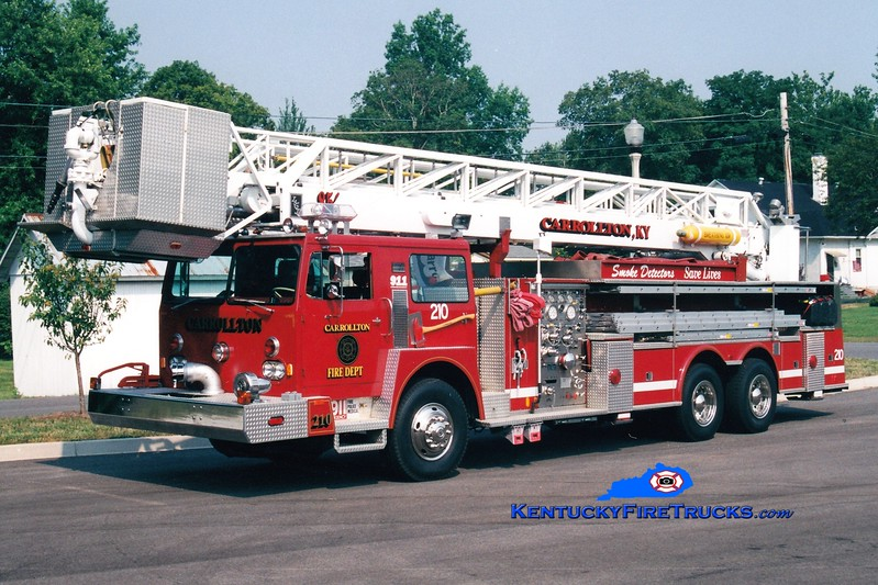 <center> Carrollton  Ladder 210  <br> x-Shakopee, MN; Nicholasville, KY <br> 1976 Hendrickson/Hamerly/LTI/1998 Custom Fire 1250/500/85'  <br> Greg Stapleton photo </center>
