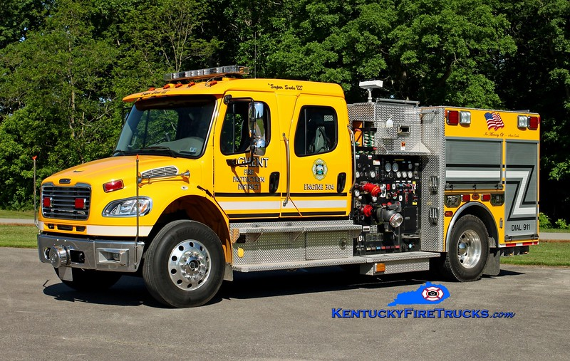 <center> Ghent  Engine 304  <br> x-Exeter Twp, PA <br> 2006 Freightliner M2-106/KME 1250/485/50/CAFS <br> Kent Parrish photo </center>