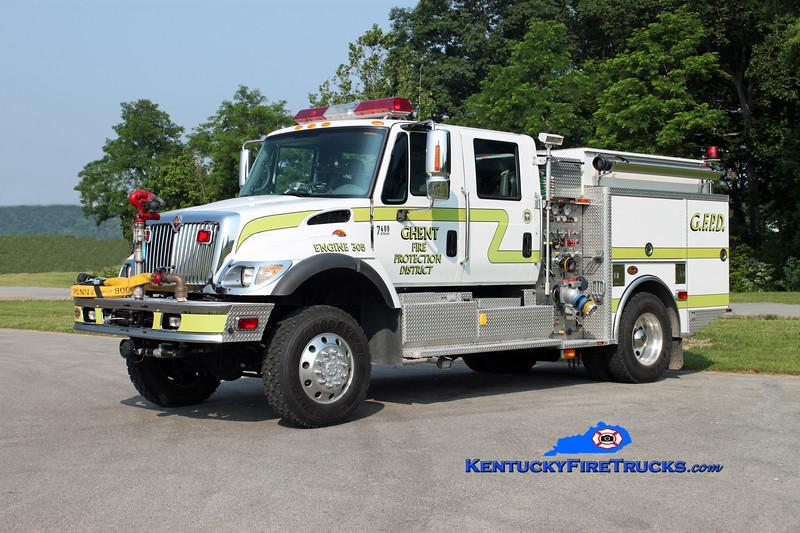 <center> Ghent  Engine 305  <br> 2003 International 7400 4x4/KME 750/500/50 <br> Kent Parrish photo </center>