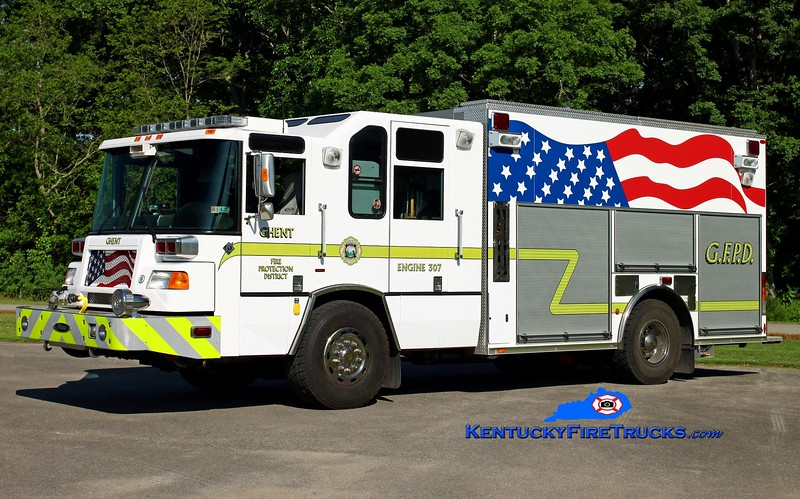 <center> Ghent  Engine 307  <br> x-Wexford, PA <br> 2004 Pierce Quantum 1500/720/30/CAFS <br> Kent Parrish photo </center>