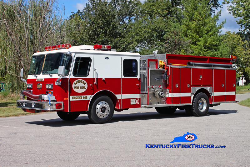 <center> RETIRED <br> Sanders  Engine 402  <br> 1990 E-One Hush 1250/1000 <br> Kent Parrish photo </center>