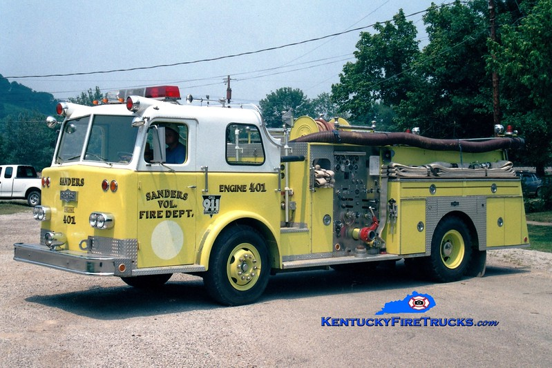 <center> RETIRED <br> Sanders  Engine 401  <br> x-Pleasure Ridge Park, KY <br> 1969 Pirsch 1000/500 <br> Greg Stapleton photo </center>