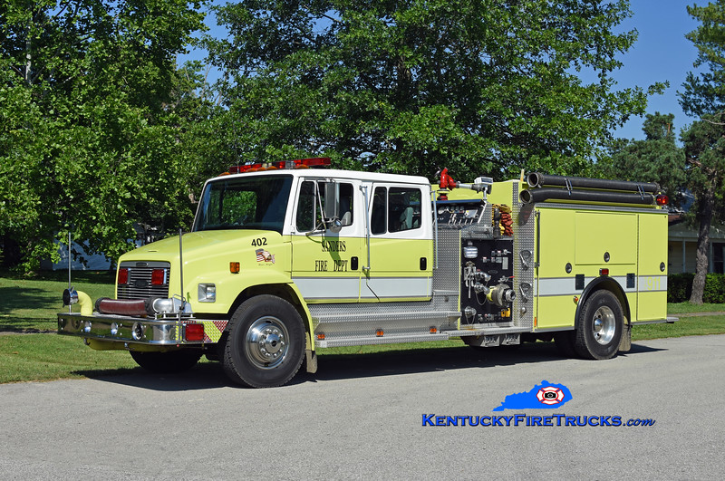 Sanders Engine 402<br /> x-Oconomowoc, WI<br /> 1996 Freightliner FL80/Pierce 1250/1000/30/30<br /> Kent Parrish photo