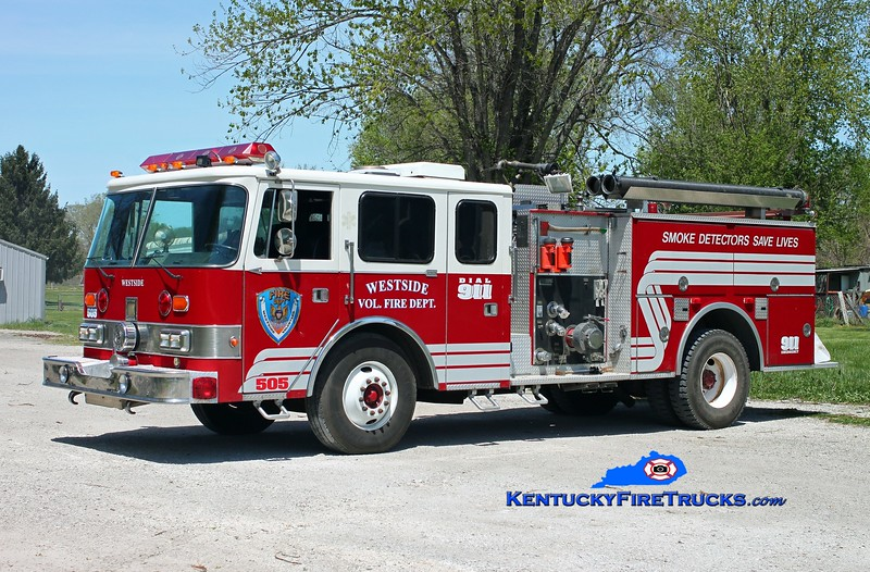 <center> Westside  Engine 505  <br> x-Washington Twp, IN <br> 1984 Pierce Arrow/RPI 1250/500 <br> Kent Parrish photo </center>