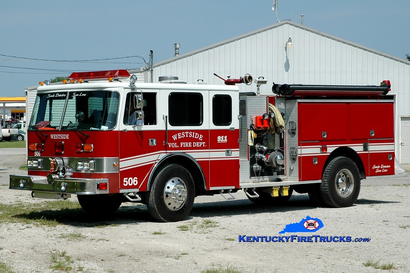 <center> Westside  Engine 506  <br> x-Indianapolis, IN <br> 1986 Pierce Arrow/RPI 1500/1000 <br> Greg Stapleton photo </center>
