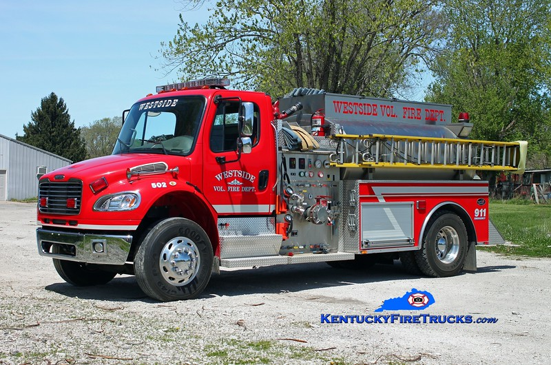<center> Westside  Tanker 502  <br> 2006 Freightliner M2-106/Bluegrass 1000/1800 <br> Kent Parrish photo </center>