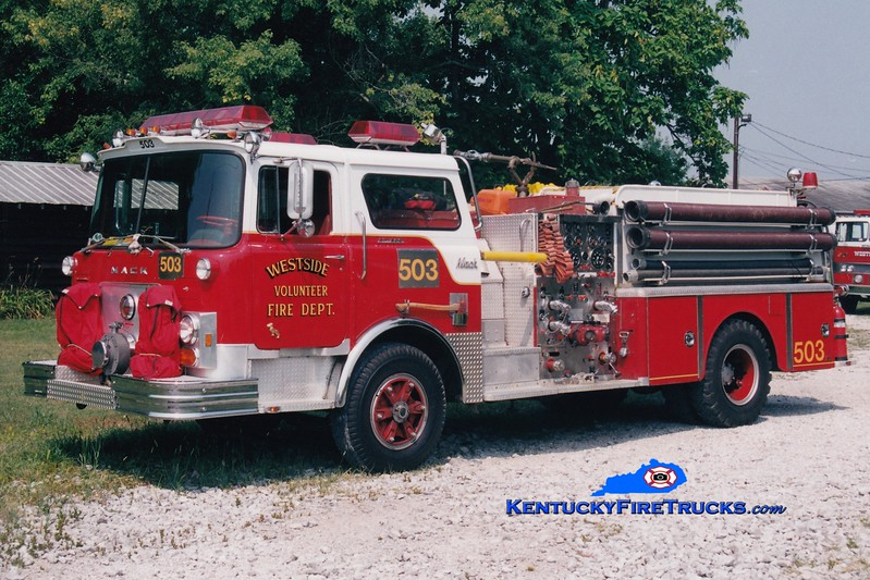 <center> RETIRED <br> Westside  Engine 503  <br> x-Worthington, KY (Jefferson Co) <br> 1976 Mack CF 1250/500 <br> Greg Stapleton photo </center>