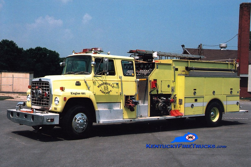 <center> Worthville  Engine 601  <br> x-North Penn Twp, IN <br> 1985 Ford LN/Boyer 1250/1500 <br> Greg Stapleton photo </center>