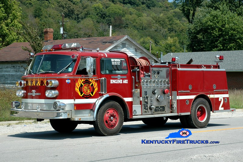 <center> Worthville  Engine 602  <br> x-Lake Ridge, IN <br> 1981 American LaFrance Century 1500/500 <br> Greg Stapleton photo </center>