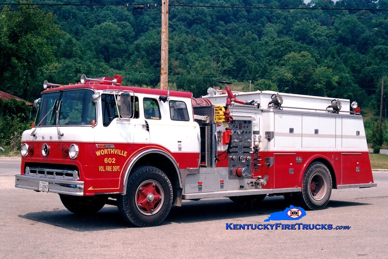 <center> RETIRED <BR> Worthville  Engine 602  <br> x-Cheektowaga, NY <br> 1974 Ford C/Young 1000/1000 <br> Greg Stapleton photo </center>