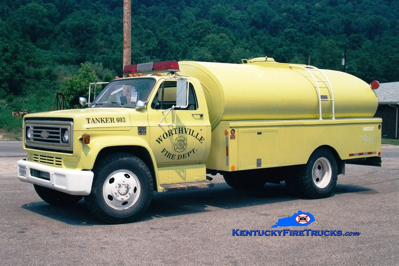 <center> RETIRED <BR> Worthville  Tanker 603  <br> x-North Penn Twp, IN <br> 1977 Chevy/Metz 0/1800 <br> Greg Stapleton photo </center>