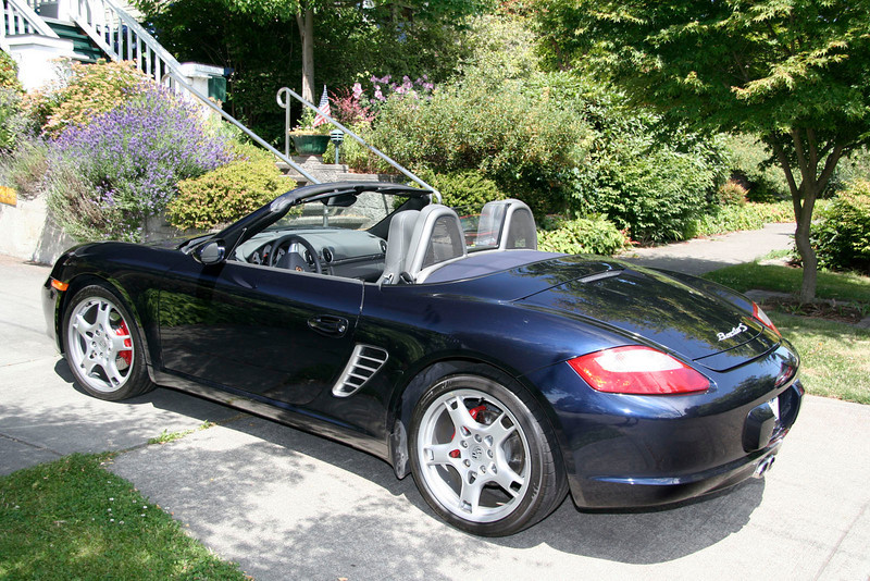 My 2005 Boxster S in midnight blue with grey full leather interior.