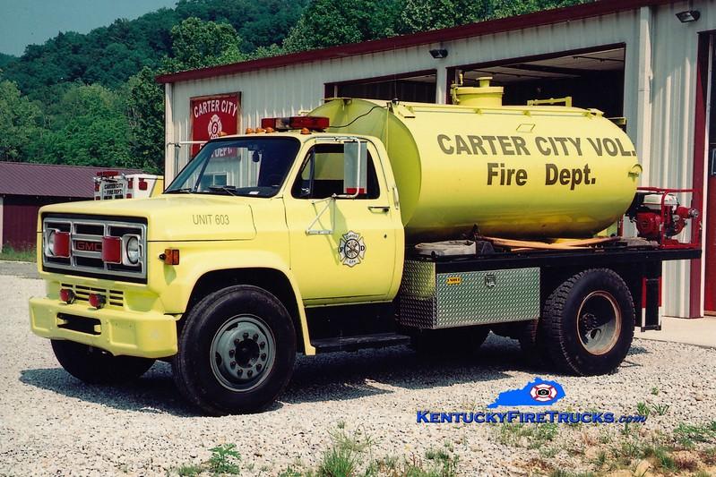 <center> Carter City  Tanker 603 <br> 1988 GMC/Local 400/1500 <br> Greg Stapleton photo </center>