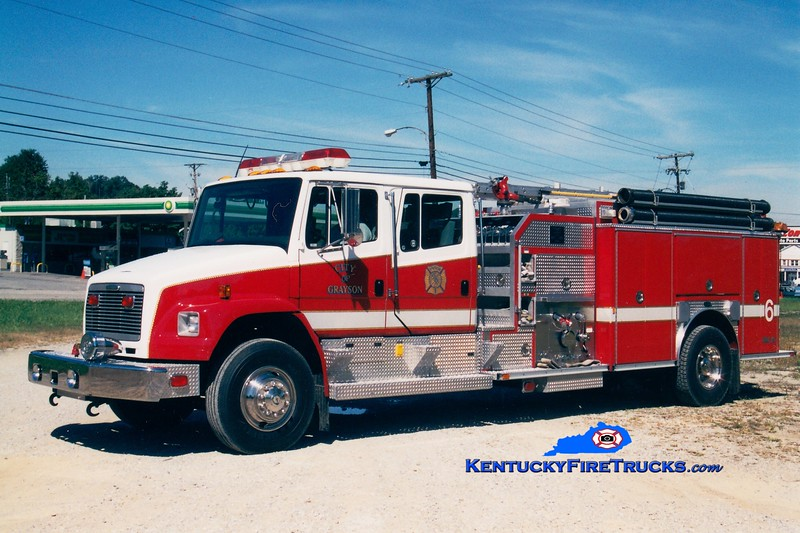<center> Grayson  Engine 6 <br> 1999 Freightliner FL80/E-One 1250/670/30 <br> Greg Stapleton photo </center>