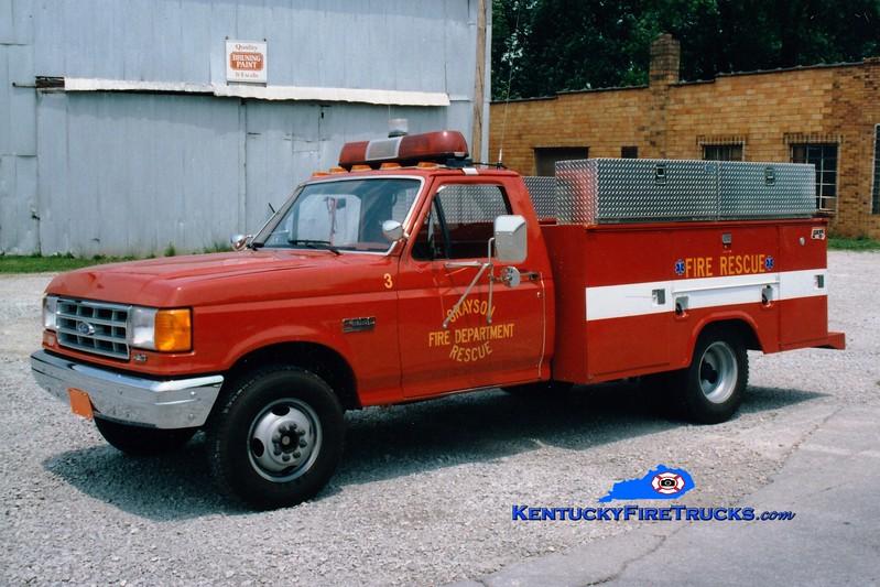<center> RETIRED <br> Grayson  Rescue 133 <br> 1993 Ford F-350/Stahl  <br> Greg Stapleton photo </center>