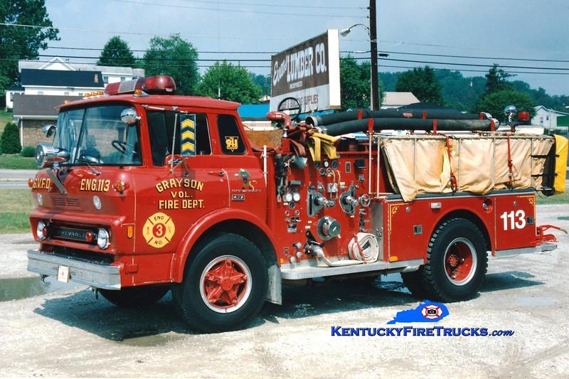<center> RETIRED <br> Grayson  Engine 113 <br> 1974 Chevy L65/American LaFrance 1000/500 <br> Greg Stapleton photo </center>