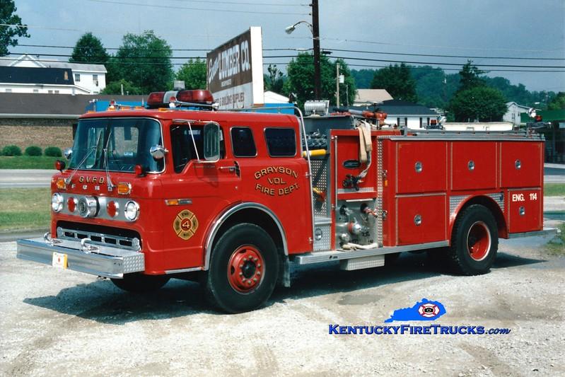 <center> RETIRED <br> Grayson  Engine 114 <br> 1979 Ford C-900/E-One 1000/750 <br> Greg Stapleton photo </center>