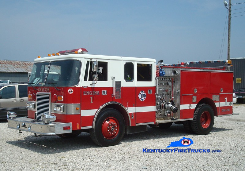 <center> RETIRED <br> Grayson  Engine 1 <br> x-Tampa, FL <br> 1990 Pierce Lance 1250/750 <br> Greg Stapleton photo </center>