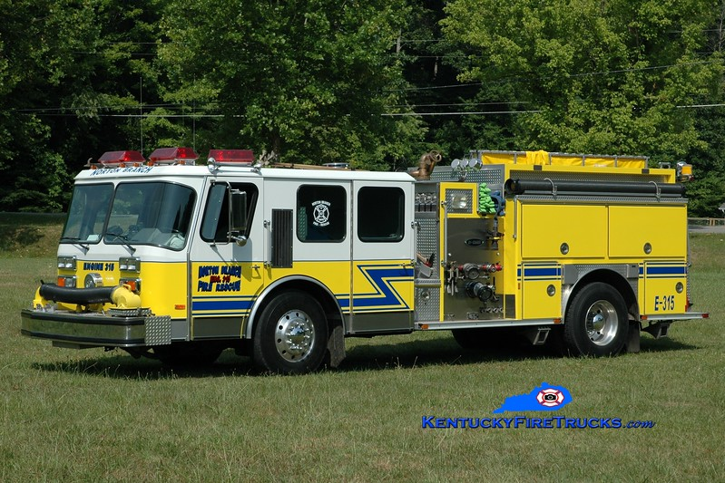 <center> Norton Branch  Engine 315  <br> x-Westwood, KY  <br> 1989 E-One Hurricane 2000/750 <br> Greg Stapleton photo </center>