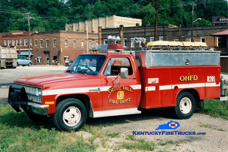 <center> RETIRED <br> Olive Hill  Squad 201 <br> 1982 Chevy/Reading <br> Greg Stapleton photo </center>