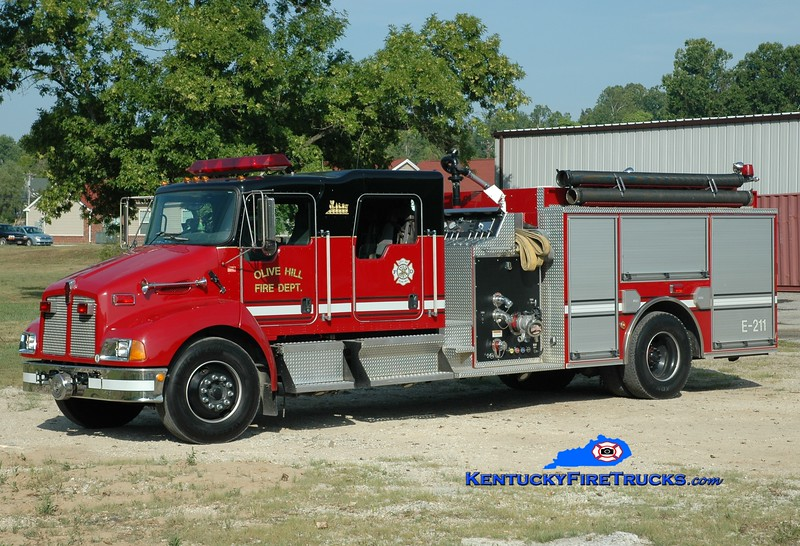 <center> Olive Hill  Engine 1 <br> 2003 Kenworth T-300/Pierce 1250/1000 <br> Greg Stapleton photo </center>