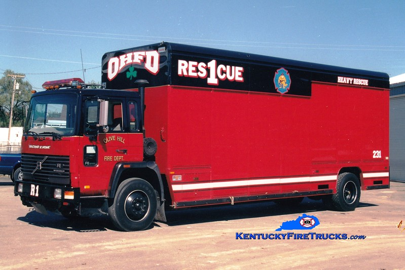 <center> RETIRED <BR> Olive Hill  Rescue 1 <br> 1990 Volvo/Mickey Body <br> Greg Stapleton photo </center>