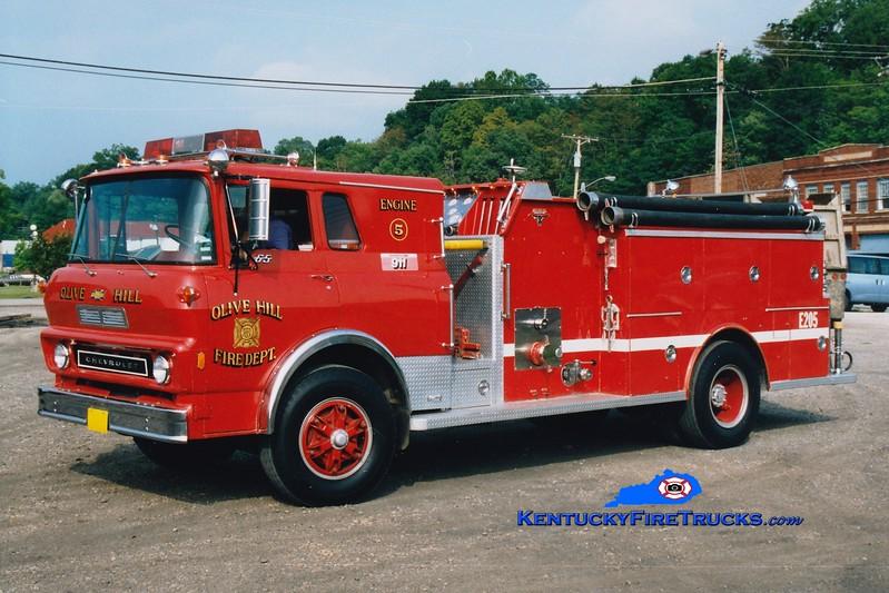 <center> RETIRED <br> Olive Hill  Engine 5 <br> 1977 Chevy/Allegheny 750/750 <br> Greg Stapleton photo </center>