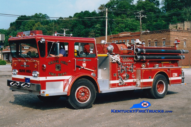 <center> RETIRED <br> Olive Hill  Engine 4 <br> 1973 American LaFrance Pioneer II 1000/750 <br> Greg Stapleton photo </center>