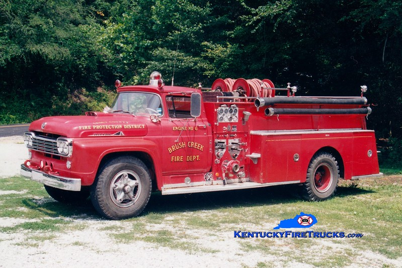<center> Brush Creek  Engine 6 <br> x-Boyle County, KY  <br> 1959 Ford F/Pirsch 750/500 <br> Greg Stapleton photo </center>