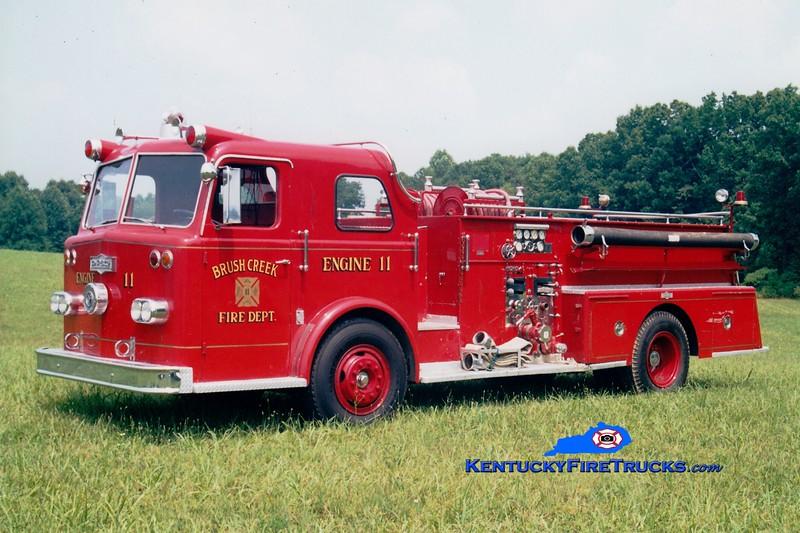 <center> Brush Creek  Engine 11 <br> x-Danville, KY  <br> 1964 Pirsch 1000/300 <br> Greg Stapleton photo </center>