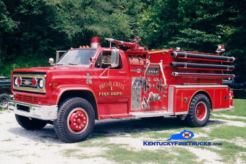 <center> Brush Creek  Engine 1 <br> x-Perryville, KY  <br> 1979 Chevy C70/American LaFrance 1000/750 <br> Greg Stapleton photo </center>