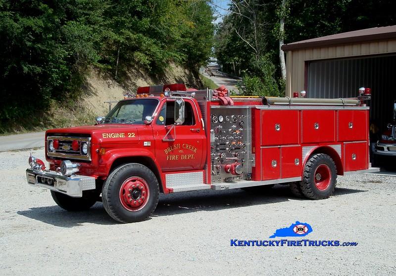 <center> Brush Creek  Engine 22 <br> x-Boyle County, KY  <br> 1982 Chevy/E-One 1000/1000 <br> Greg Stapleton photo </center>