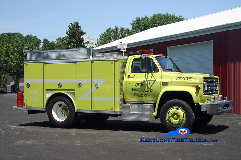 <center> *Remounted on new chassis <br> Liberty-Casey County Rescue Squad  Rescue 1 <br> 1978 GMC 6500/E-One  <br> Kent Parrish photo </center>
