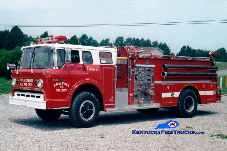 <center> RETIRED <br> Poplar Springs Engine 1 <br> x-McKinney, KY <br> 1972 Ford C/Oren-Great Eastern 1000/800 <br> Greg Stapleton photo </center>