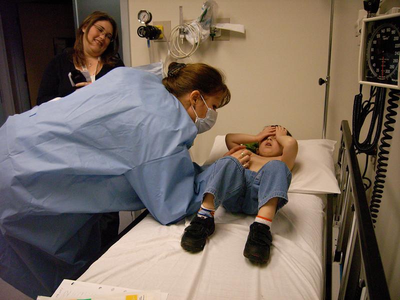 Casey getting a needle poke
