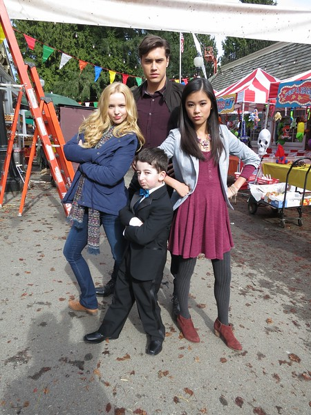 Actors Dove Cameron Ryan McCartan and Tiffany Espensen with Casey Wright on the set of R.L. Stine's  Monsterville