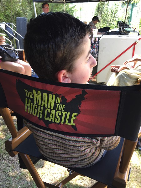 """Casey Wright on the set of Man in the High Castle where he played a reoccurring role as a little boy with polio named """"Bobby"""""""