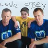 Vancouver Canucks Henrik and Daniel Sedin with Casey Wright