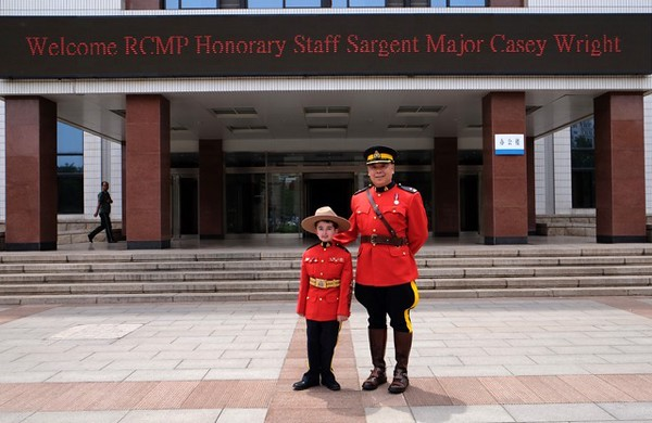 Hon.Staff Sgt. Major Casey Wright along with Inspector Peter Tsui ( Liaison Officer to China, Korea and Mongolia) being welcomed to the People's Public Security University of China