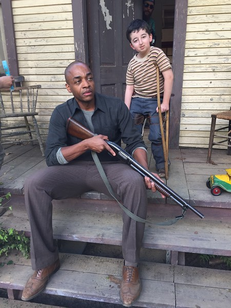 """Actor Rick Worthy on the set of """"Man in the High Castle where Casey Wright played a little boy with polio named """"Bobby"""""""